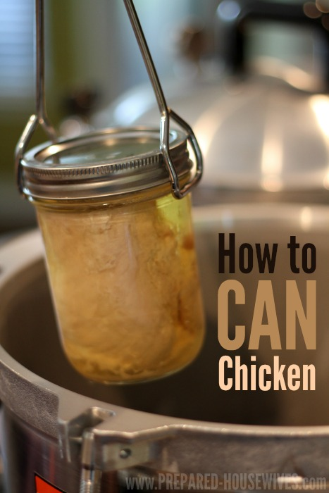 How to Can Chicken! Making your own canned chicken is not as scary as it seams. It tastes great and can last 3+ years! Prepared-Housewives.com #canning #cannedchicken