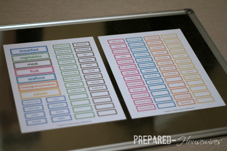 meal plan magnets
