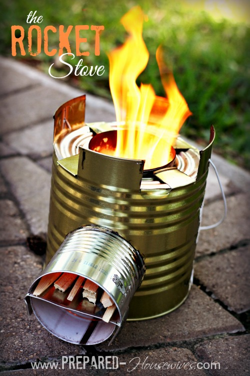 rocket stove build one with a 10 can and some scraps