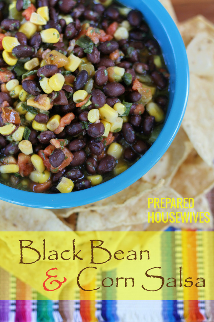 Black Bean and Corn Salsa using Food Storage ingredients! www.Prepared-Housewives.com #blackbeans #corn #salsa #recipe #foodstorage