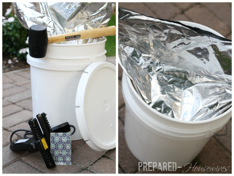 put mylar bag into bucket