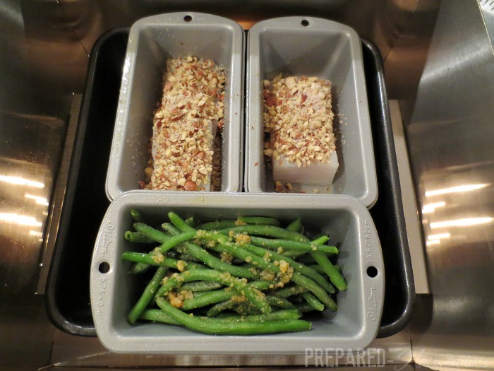 cooking halibut and green beans in herc oven