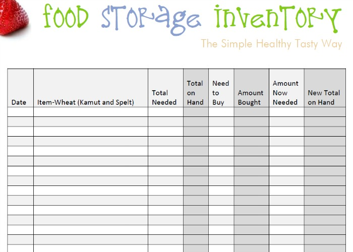 Food Storage Inventory Spreadsheet