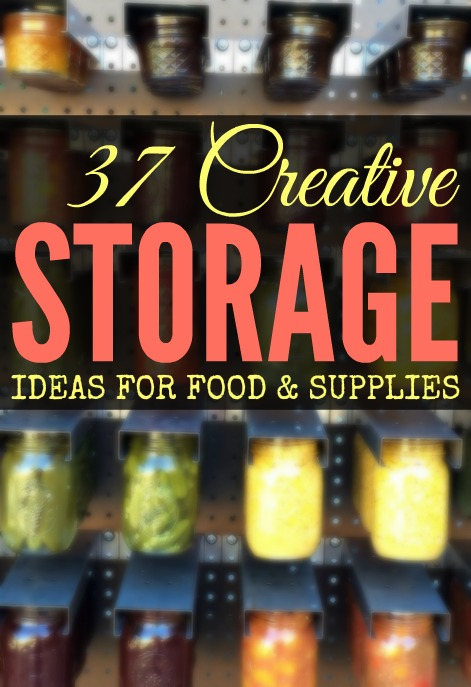 37 Creative Storage Solutions to Organize Your Food & Supplies! Prepared-Housewives.com #pantryorganization #foodstorage
