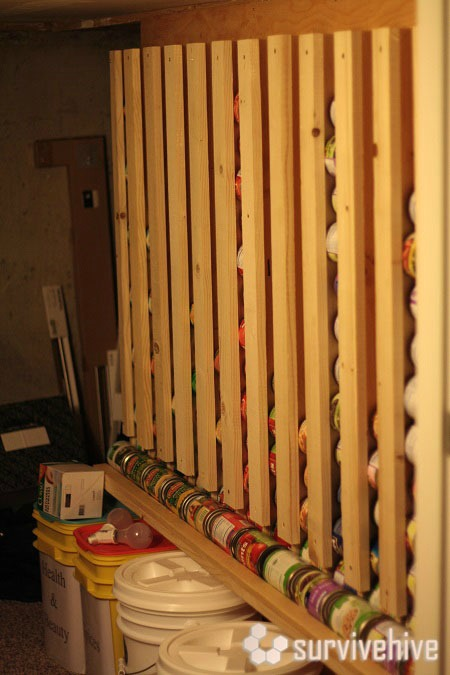 diy canned food storage rotation system